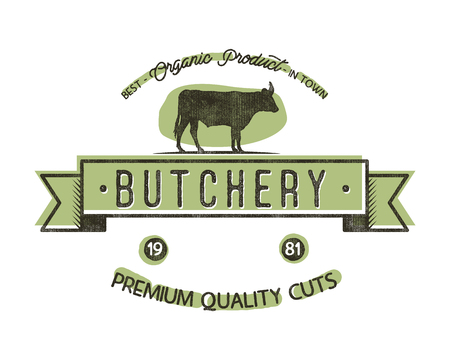 Butchery Shop vintage emblem. Butchery store  template retro style. Vintage design for , label, t shirt, tee, badge and brand design. Stock illustration.