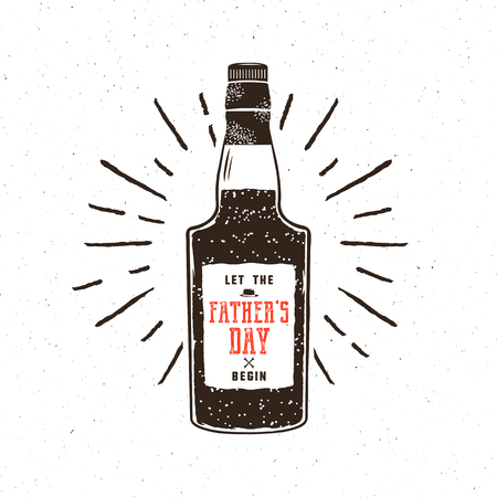 Rum bottle in retro style with sigh - let the fathers day begin. Funny concept for celebration Father s Day 2017. Isolated on textured white background Imagens