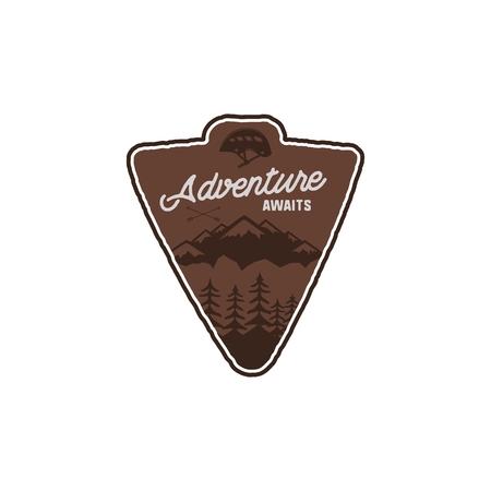 Hand drawn vintage camping badge and hiking label with mountains, forest, climb helmet and typography design elements. Quote text- Adventure awaits. Old style patch. Rustic stamp template