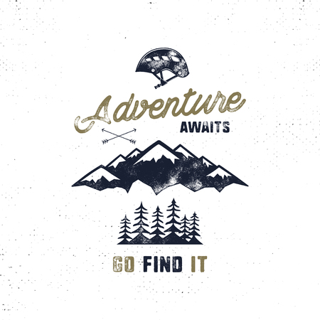Vintage hand drawn typography poster illustration with sign adventure awaits - Grunge effect. Funny lettering with symbols climb helmet, mountains, trees. Isolated on white. Stok Fotoğraf - 81938896