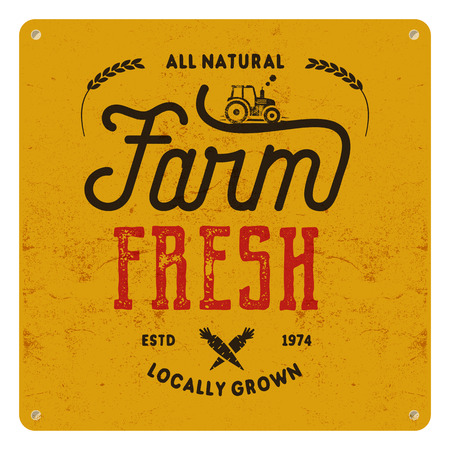 Farm fresh, eco food poster. All natural, locally grown. Local product logo designs Typographic insignia in retro style and symbols - tractor, carrot. patch