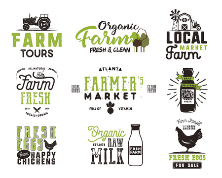 Farmer s Market, organic food, milk and eggs badges set. Fresh and Local product logo designs. Typographic eco farm insignia in black and green style. Isolated on white background. patches