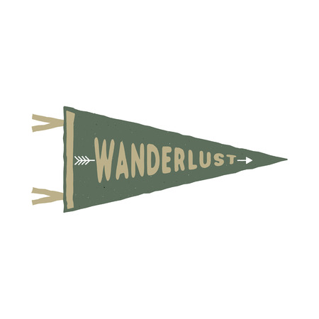 Wanderlust pennant template. Vintage Hand drawn monochrome design. Best for t-shirts, travel mugs, backpack and any other identities. Stock isolated on white background