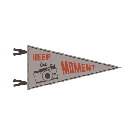 pin board: Keep the moment pennant. Flag pendant design in retro colors style. Drawing for prints on t-shirts, mugs and other branding identity. Stock illustration