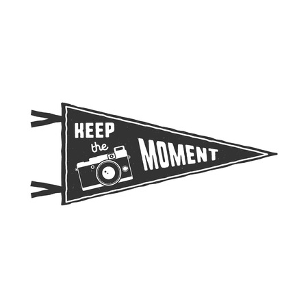 pin board: Keep the moment pennant. Flag pendant design in retro monochrome style. Drawing for prints on t-shirts, mugs and other branding identity. Stock illustration Stock Photo