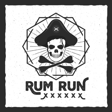 halloween tee shirt: Pirate skull insignia, poster. Rum label design with sun bursts, geometric shield and text - rum run. Vintage style for tee design, t-shirt, web projects, logotype, pub. Isolate on white.