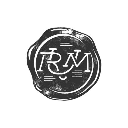 Modèle de joint de cire artisanal vintage avec monogramme Rum. Utilisez l'emblème pirate, l'étiquette, le logo. Isolé sur fond blanc. Sketcher le style rempli. Modèle de silhouette. Banque d'images