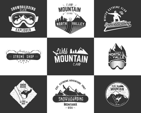 Set of Snowboarding extreme  and label templates. Winter snowboard sport store badges, emblems. Mountain Adventure insignias with snowboarders man, rv symbol. vintage monochrome style