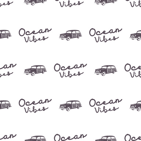 f10ac19dc5 Surfing old style car pattern design. Summer seamless wallpaper with surfer  van