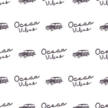 Surf diseño de patrón de coche de estilo antiguo. Papel tapiz transparente de verano con furgoneta surfista, signo de tipografía de océano vibraciones. Coche combi monocromo Vector. Para impresión de telas, proyectos web, camisetas o diseños de tee. Foto de archivo - 81916230