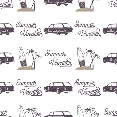 Surfing old style car pattern design. Summer seamless wallpaper with surfer van, surfboards, palms. Monochrome combi car. Vector illustration. Use for fabric printing, web projects, t-shirts.