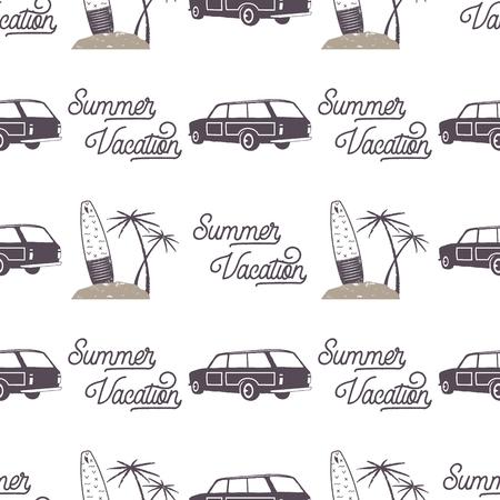Surf diseño de patrón de coche de estilo antiguo. Papel tapiz transparente de verano con furgoneta surfista, tablas de surf, palmeras. Coche combi monocromo Ilustración vectorial Uso para impresión de telas, proyectos web, camisetas. Foto de archivo - 81916362
