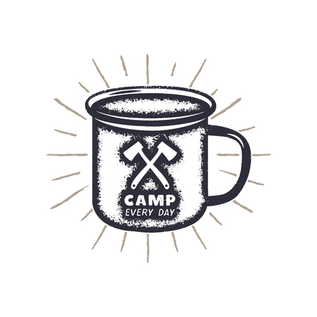 Hand drawn camping mug shape, sunbursts label with motivational quote - Camp every day. Outdoor activity badge. Wilderness print. Stock Vector vintage illustration.
