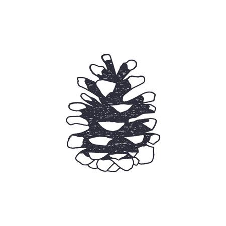 Nadelbaumkegelform der Weinlese Hand gezeichnet. Retro-Monochrom-Symbol. Kann für T-Shirts, Drucke, Logos, Abzeichen und andere Identitäten verwendet werden. Vektor auf Lager lokalisiert auf weißem Hintergrund Standard-Bild - 81916352