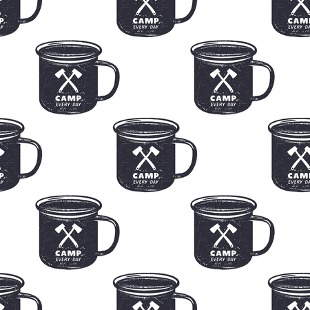 Vintage hand drawn camp mug, pattern design. Camping seamless wallpaper with cup, typography sign. Monochrome retro design. Vector illustration. Use for fabric printing, web projects, t-shirts. Illustration