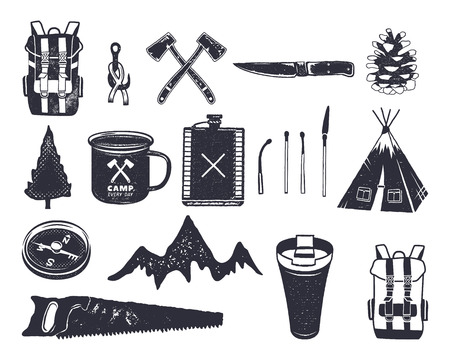 free range: Vintage hand drawn adventure hiking, camping shapes of backpack, saw, mountain, matches, tree, knife, thermo cup and others. Retro monochrome design. Can be used for t shirts, prints. Stock vector