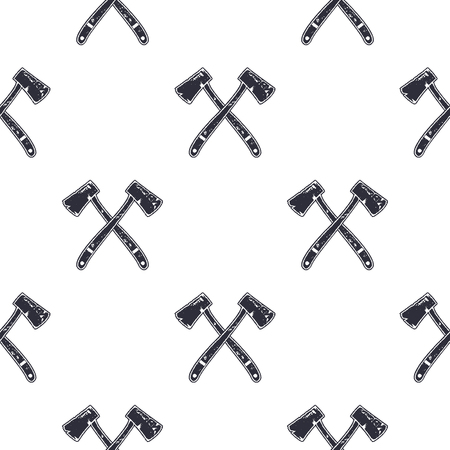 Vintage hand drawn crossed axes shape seamless. Retro monochrome lumberjack or mining pattern. Can be used for t shirts, prints, logotype, badges, icons and other identity. Stock vector