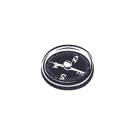 モノクロでヴィンテージ手描きコンパス形状エッチング スタイルであります。冒険を刻む凸版ピクトグラム アイコン。流行に敏感な生存のキャンプ