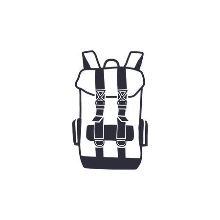 モノクロでヴィンテージ手描きバックパック形状は、線のスタイルを刻みます。冒険のアイコン、ピクトグラム。流行に敏感な生存のキャンプ スタ
