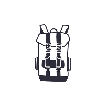 Vintage hand drawn backpack shape in monochrome engrave line style. Adventure icon, pictogram. Camping hipster survival style. Stock vector isolated on white background