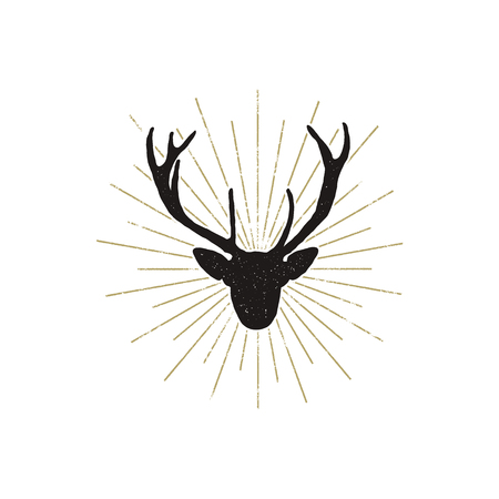 Deer shape with sunbursts. Silhouette animal design. Black wild animal isolated on white background. .