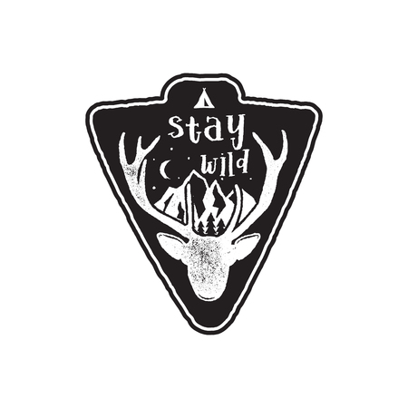 Hand drawn vintage camping badge and hiking label with wild animals design elements. Included deer head, mountains and quote text- stay wild . Old style patch. Rustic stamp template Stok Fotoğraf