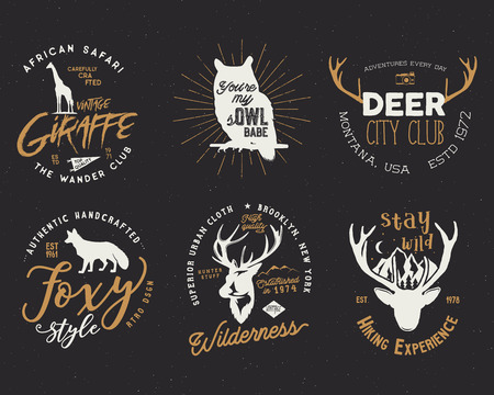 Wild animal badges set and great outdoors activity insignias. Retro illustration of animal badges. Typography camping style. animal badges logos with letterpress effect. Custom hiking quotes