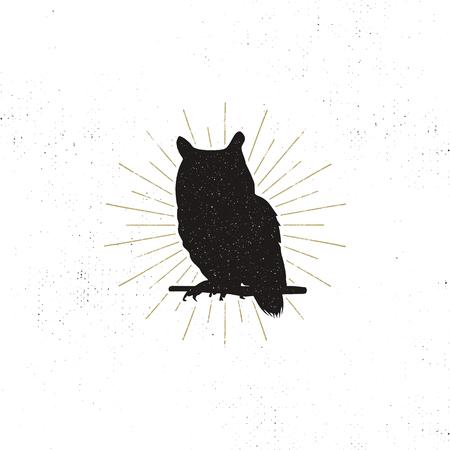 Owl silhouet vorm geïsoleerd op een witte achtergrond. Zwart dier pictogram. Solide sjabloon met zonnestralen. Voorraad vector geïsoleerd