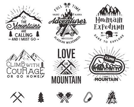 登山のラベル、山探検隊エンブレム、ビンテージのシルエットのロゴとデザイン要素をハイキングします。分離されたレトロな活版スタイル。荒野