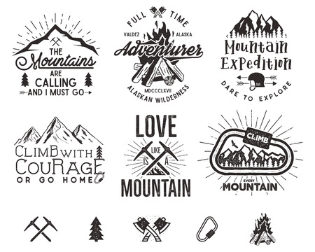 Set of mountain climbing labels, mountains expedition emblems, vintage hiking silhouettes logos and design elements. retro letterpress style isolated. Wilderness patches, insignia Фото со стока
