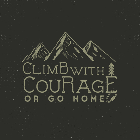 Climbing vintage label design. Hand drawn badge with mountain, climb gear and typography elements. Outdoors adventure t shirt, logotype. illustration Stock Illustration - 82318386