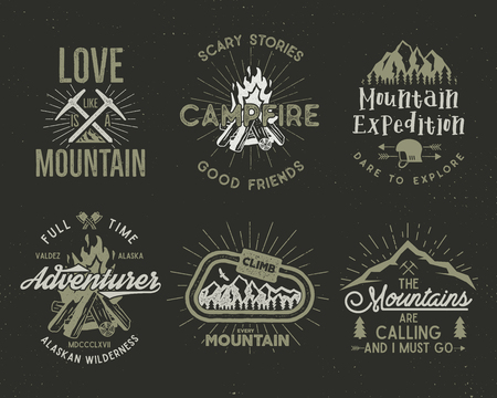 Set of mountain and scouting badges. Climbing labels, mountains expedition emblems, vintage hiking silhouettes logos and design elements. retro letterpress style isolated