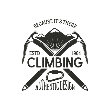 Vintage climbing badge. Climbing logo, vintage emblem. Climb gear - carabiner and text. Retro t shirt design. Old style illustration. Climbing insignia Stock Illustration - 82396468