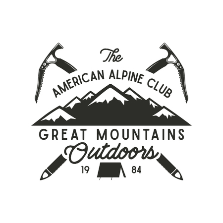Hand drawn vintage alpine label with texts, silhouett mountain, climb equipment. Letterpress effect.