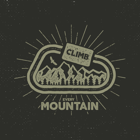 outdoor adventure label. Vintage design with text and climbing symbols - carabiner, mountains. Typography outdoor adventure t-shirt print emblem isolated on dark background. Letterpress effect