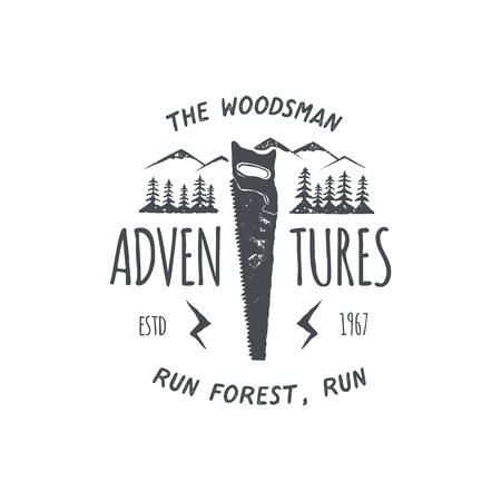 Vintage hand drawn travel badge and emblem. Old style label. Outdoor adventure inspirational logo. Typography retro design. Motivational quote - The woodsman adventures for prints, t shirts. Vector