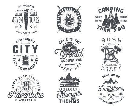 Vintage hand drawn travel badge and emblem set. Hiking labels. Outdoor adventure inspirational logos. Typography retro style. Motivational quotes for prints, t shirts. Stock vector design Stock Vector - 83096055