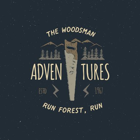 Vintage hand drawn travel badge and emblem. Hiking label. Outdoor adventure inspirational logo. Typography retro style. Motivational quote - The woodsman adventures for prints, t shirts. Stock vector