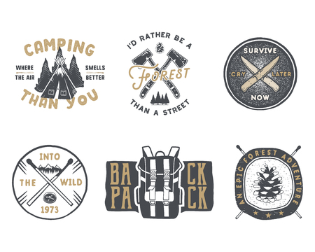 Vintage hand drawn travel badge and emblem set. Hiking labels. Outdoor adventure inspirational logos.Typography retro style. Motivational quotes for prints, t shirts, travel mug.Stock vector isolated.