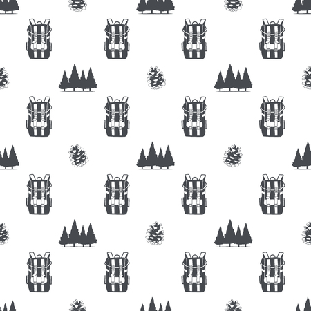 camping pattern with backpack, trees and pine cone symbols. Adventure seamless wallpaper. Stock vector isolated on white background. Monochrome design