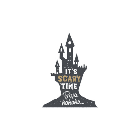 Halloween badge. Vintage hand drawn logo design. Monochrome style. Typography elements and Halloween symbol - horror castle. Stock vector isolated on white background Çizim