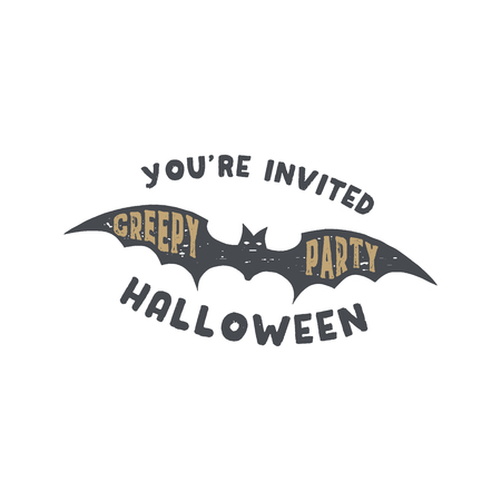 Happy Halloween badge. Vintage hand drawn logo design. Monochrome style. Typography elements and Halloween symbol - bat. Stock vector isolated on white background Illustration