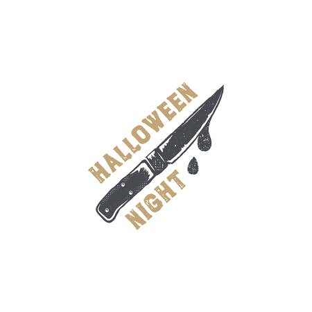 Halloween badge. Vintage hand drawn logo design. Monochrome style. Typography elements and Halloween symbol - knife with blood. Stock vector isolated on white background Stock Vector - 85177210