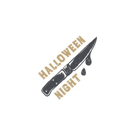 Halloween-insigne. Vintage hand getekend logo-ontwerp. Monochrome stijl. Typografie elementen en Halloween-symbool - mes met bloed. Voorraadvector op witte achtergrond wordt geïsoleerd die