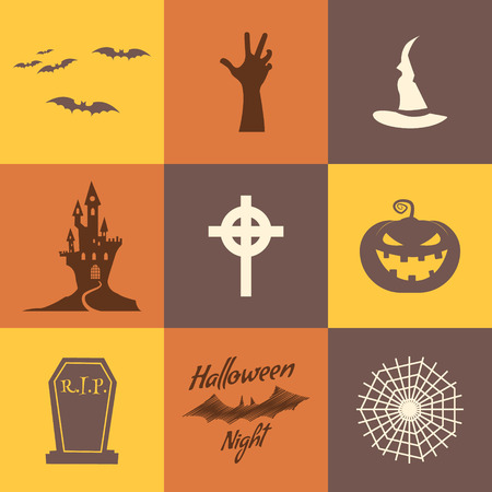Set of halloween icons isolate on multicolor backgrounds. Flat design. Holiday party symbols - pumpkin, bat, witches hat, zombie hand, vampire house, lonely tree and other. Use for web, tee, t-shirt