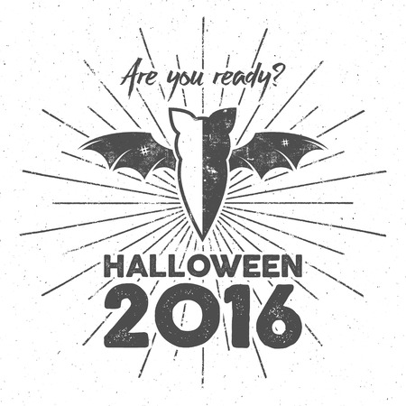Happy Halloween 2016 Poster. Are you ready lettering and halloween holiday symbols - bat, pumpkin, hand, witch hat, spider web and other. Retro banner, party flyer design. illustration.