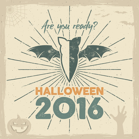 Happy Halloween 2016 Poster. Are you ready lettering and holiday symbols - bat, pumpkin, hand, witch hat, spider web and other. Retro banner, party flyer design. illustration.