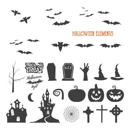Set of halloween design creation tool kit. Icons isolate. Flat holiday design creator. Party symbols - pumpkin, bat, witches hat, vampire house, lonely tree. Create own scary design, tee, t-shirt