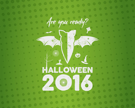 Happy Halloween 2016 Poster. Are you ready lettering and halloween holiday symbols - bat, pumpkin, hand, witch hat, spider web tree. Old banner, party flyer design. illustration.