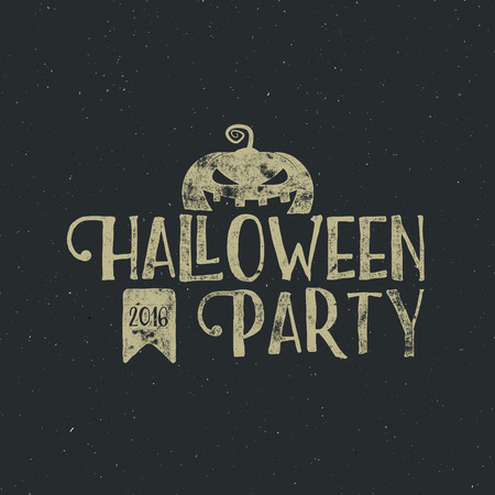Halloween 2016 party label template with pumpkin and typography elements. text with retro grunge effect. Stamp for scary holiday celebration. Print on t shirt, tee and other identity.